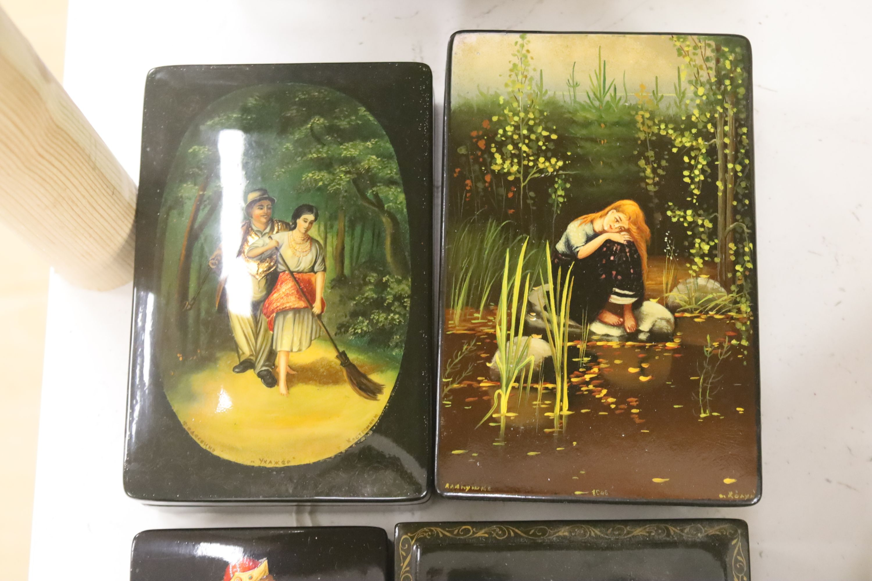 Six Russian painted lacquer boxes, each signed and inscribed, largest 18 x 13cm - Image 4 of 5