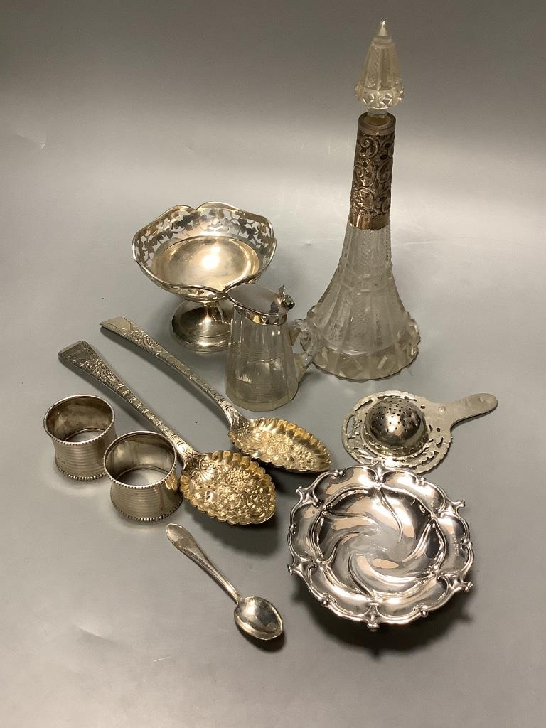 A mixed group of silver including a pair of George III silver Berry spoons, a pair of silver