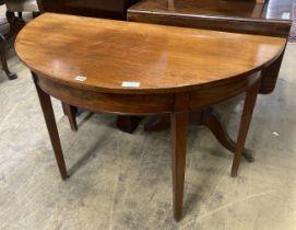 A George III demi lune table, width 112cm, depth 54cm, height 71cm