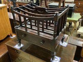 A Victorian mahogany four division Canterbury, width 51cm, depth 37cm, height 55cm