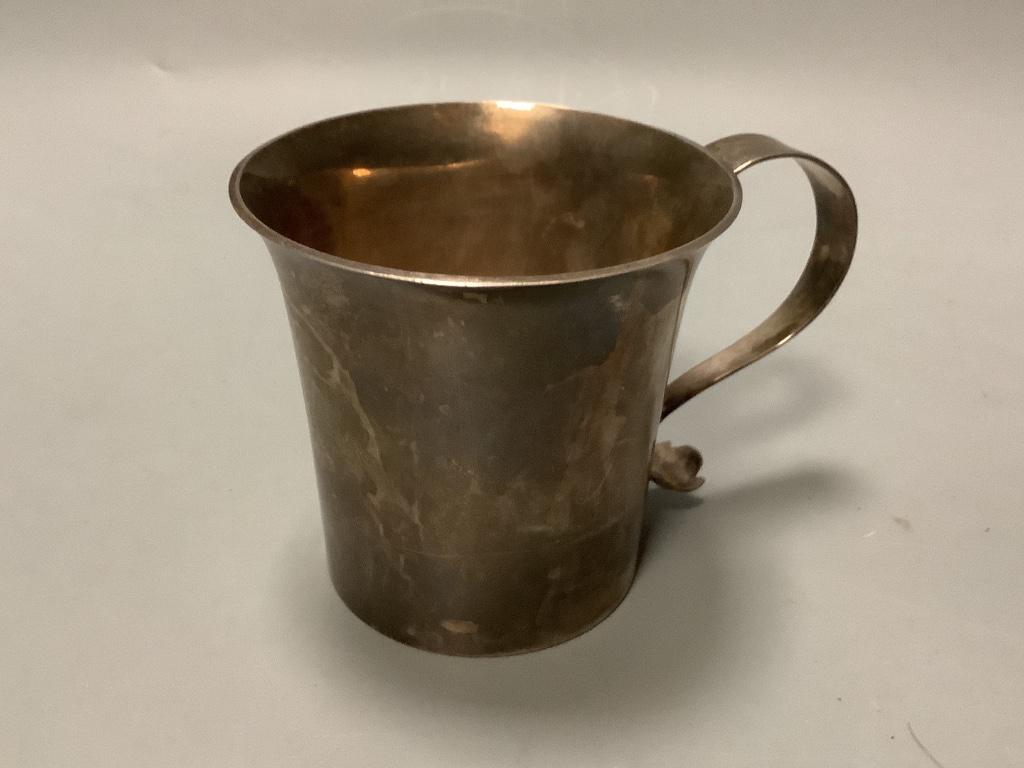 A George V Britannia standard silver christening mug with engraved initials, Thomas Bradbury and