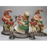 A pair of Victorian cast iron Punch and Judy door stops (later painted), one other and a pair of