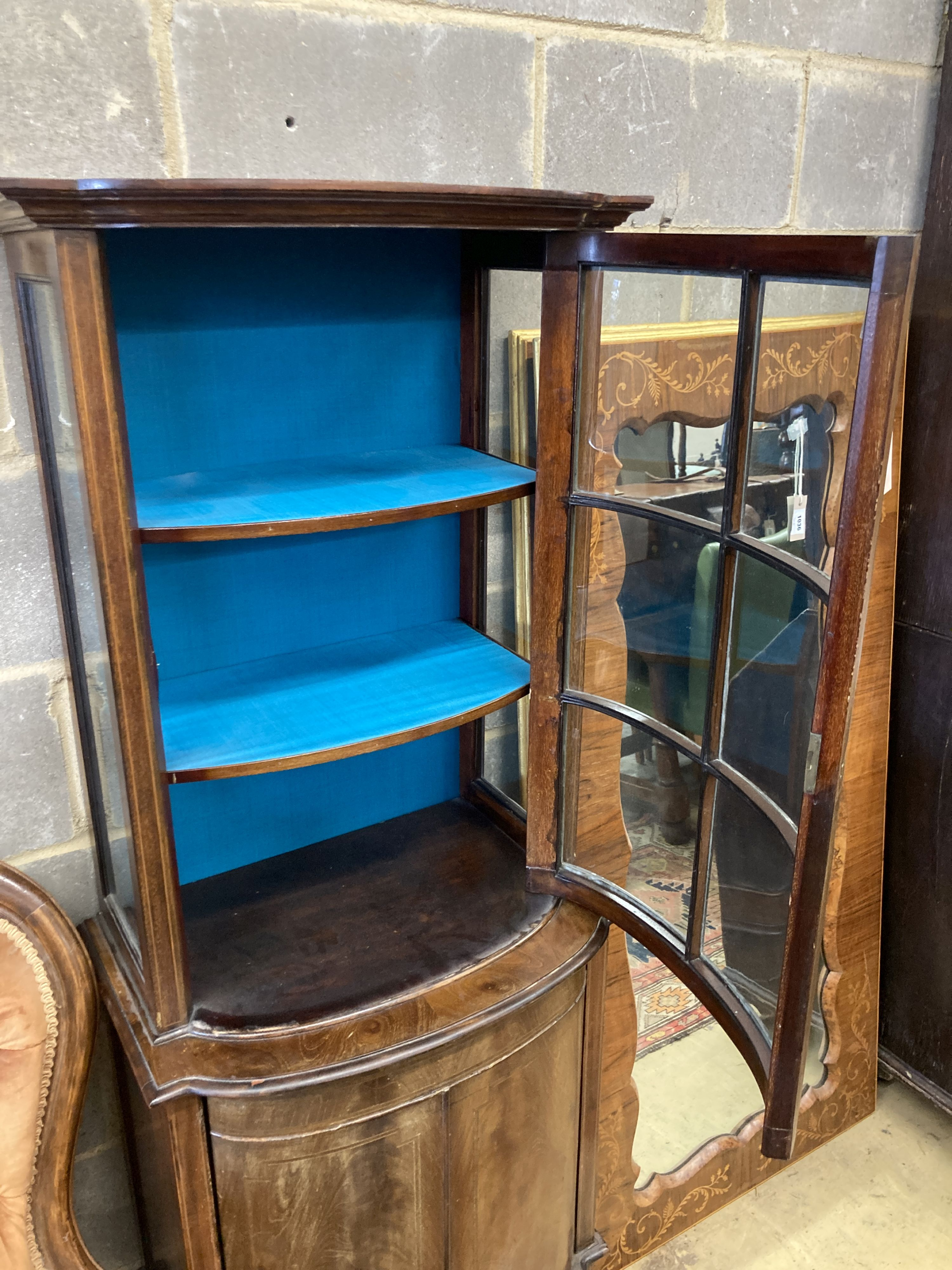 An Edwardian mahogany bowfront narrow display cabinet, width 60cm, depth 36cm, height 164cm - Image 2 of 4