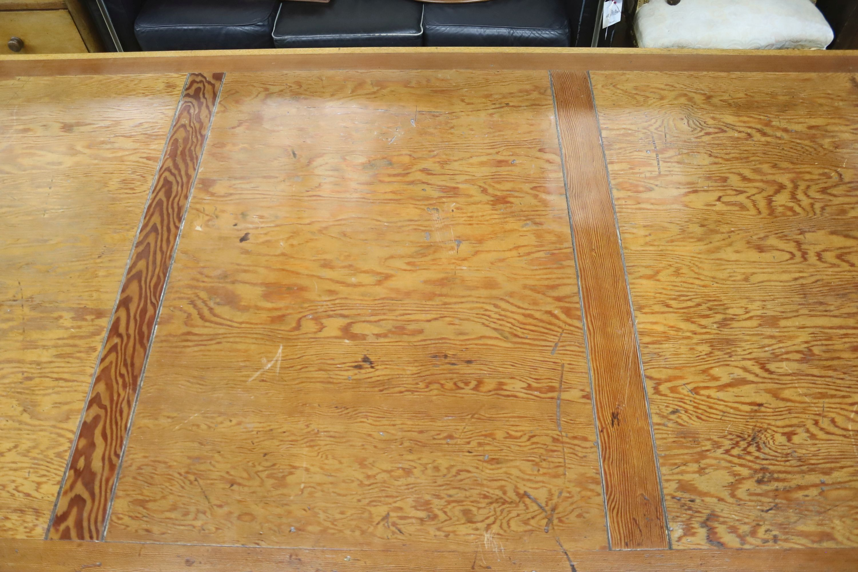 A large oak and pine refectory table, length 274cm, depth 122cm, height 76cm - Image 4 of 6