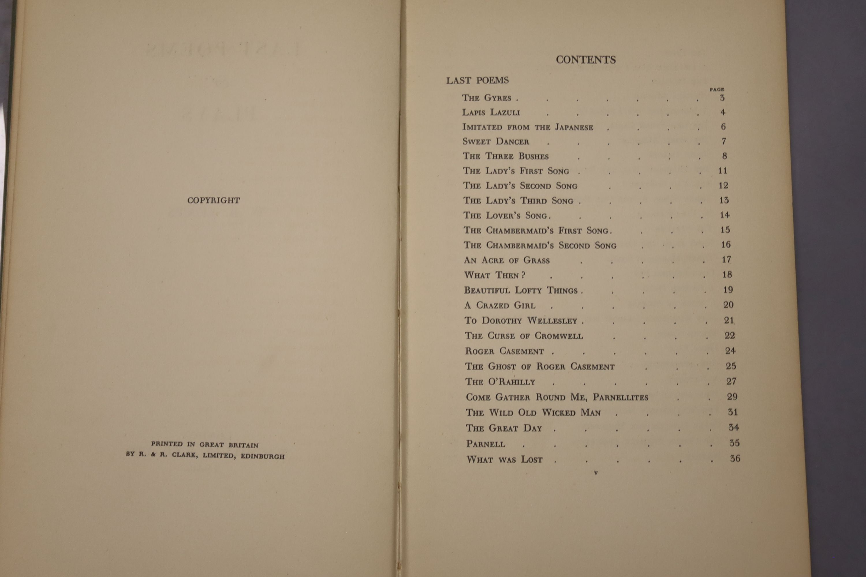 Yeats, William Butler - Last Poems, one of 2000,8vo, cloth, MacMillan, London 1940; Read, - Image 8 of 8