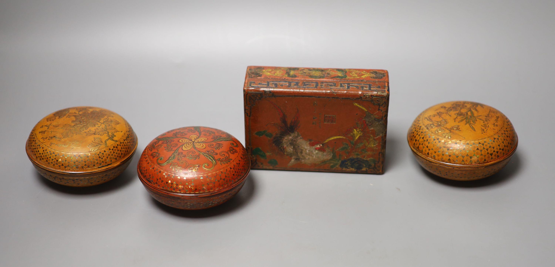 Three circular gilded lacquer boxes and a similar rectangular box