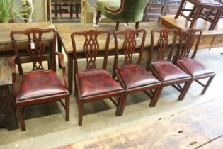 A set of eight Chippendale style mahogany dining chairs (2 arm, 6 single)