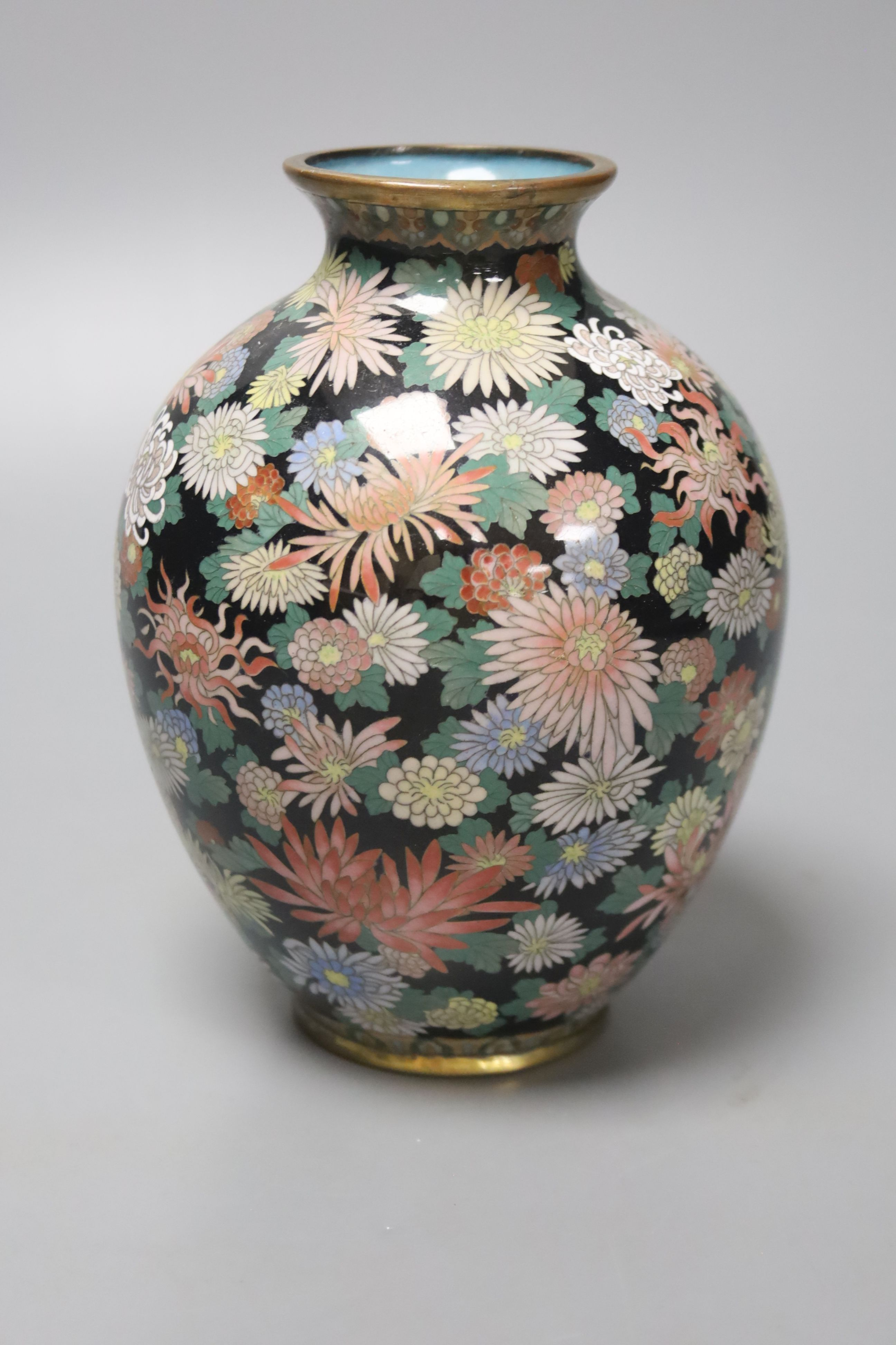 A Japanese silver wire cloisonne vase, decorated with flower heads, possibly Inaba, 16cm high - Image 2 of 4