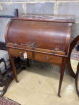 An Edwardian satinwood banded mahogany cylinder bureau, width 75cm, depth 47cm, height 98cm