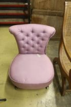 A Victorian R Hindley and Sons nursing chair, width 58cm, depth 60cm, height 68cm