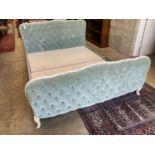 A Louis XVI style upholstered bedframe, width 160cm, length 222cm