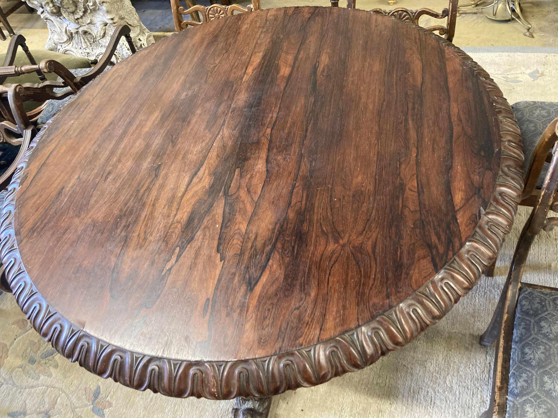 A George IV circular rosewood tilt top breakfast table, 138cm diameter, height 72cm - Image 2 of 3