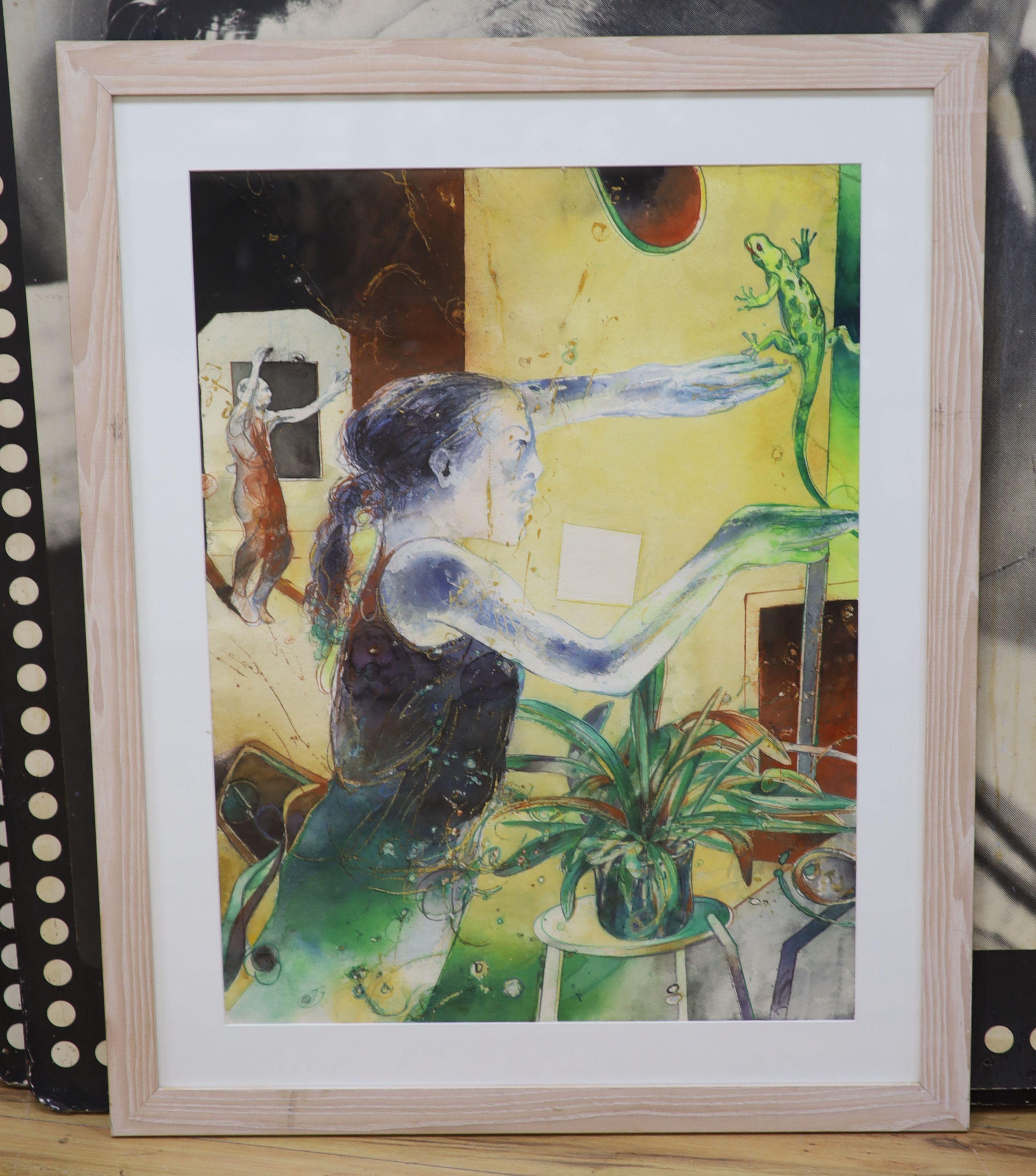 Bob Ballard, watercolour, Girl with a lizard, Bankside Gallery Exhibition label verso, 78 x 58cm - Image 2 of 2