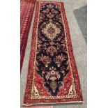 A North West Persian blue ground runner, 300 x 88cm