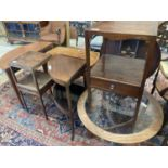 Three George III mahogany two tier washstands, largest width 43cm, depth 43cm, height 79cm