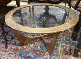 A G Plan circular glass top teak coffee table, diameter 84cm, height 45cm