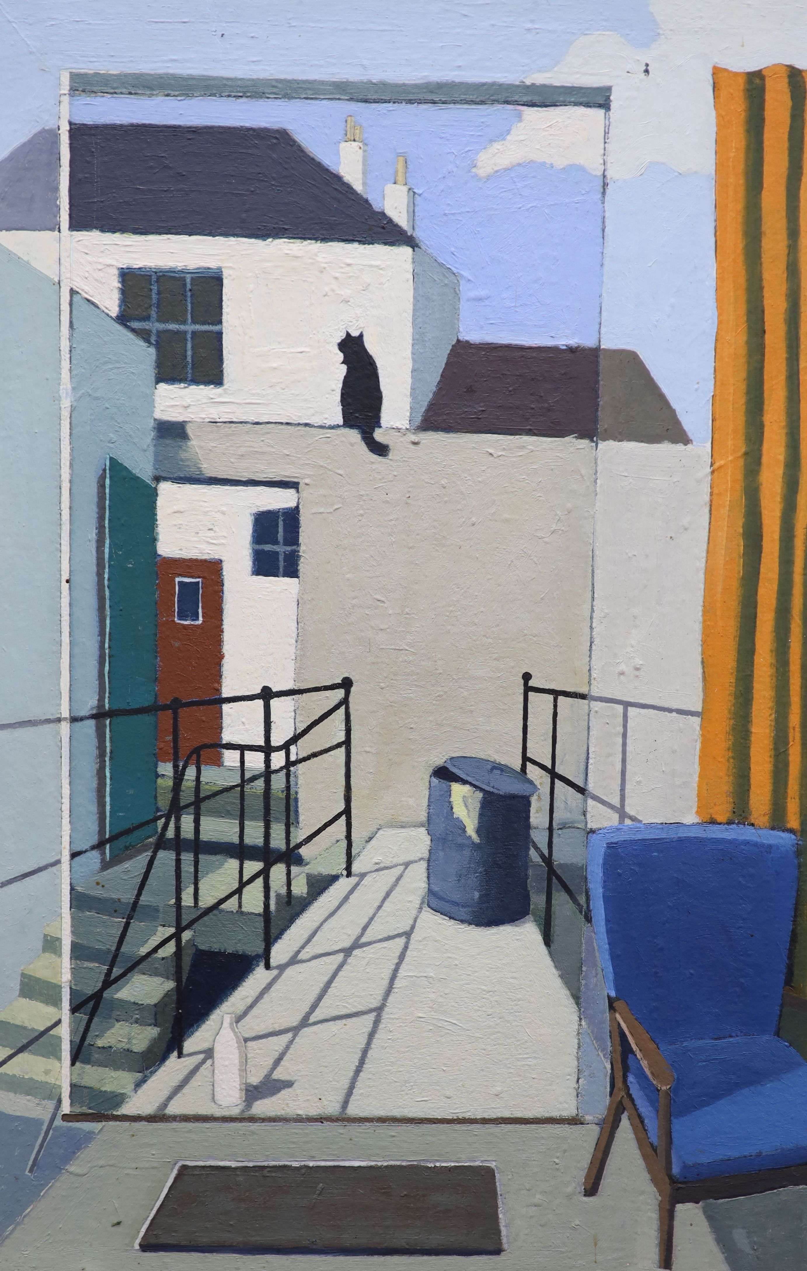 Michael Alford, oil on board, Black cat in a back yard, signed verso, 76 x 51cm
