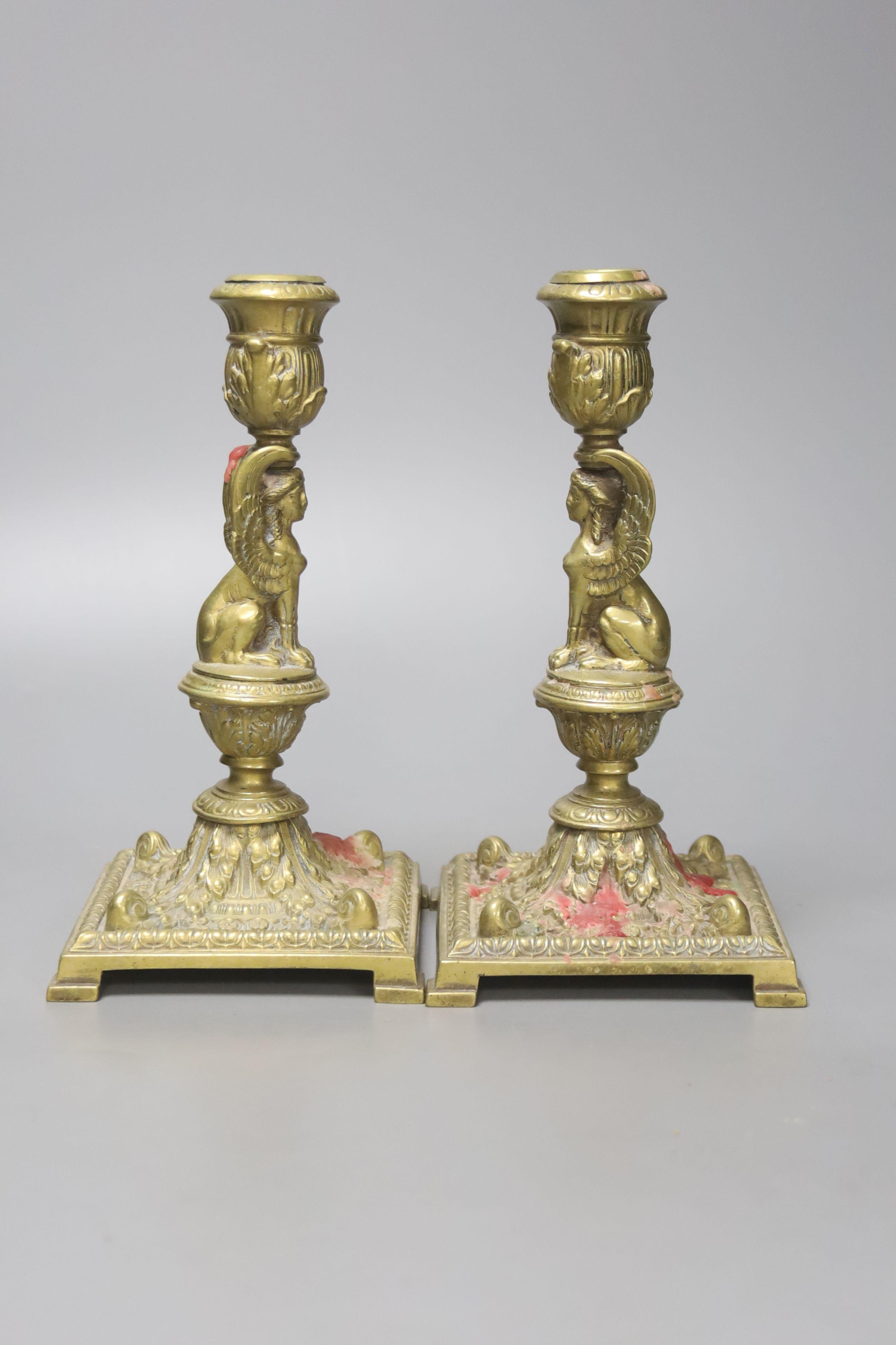 A pair of Victorian cast brass candlesticks, high 20cm - Image 2 of 3