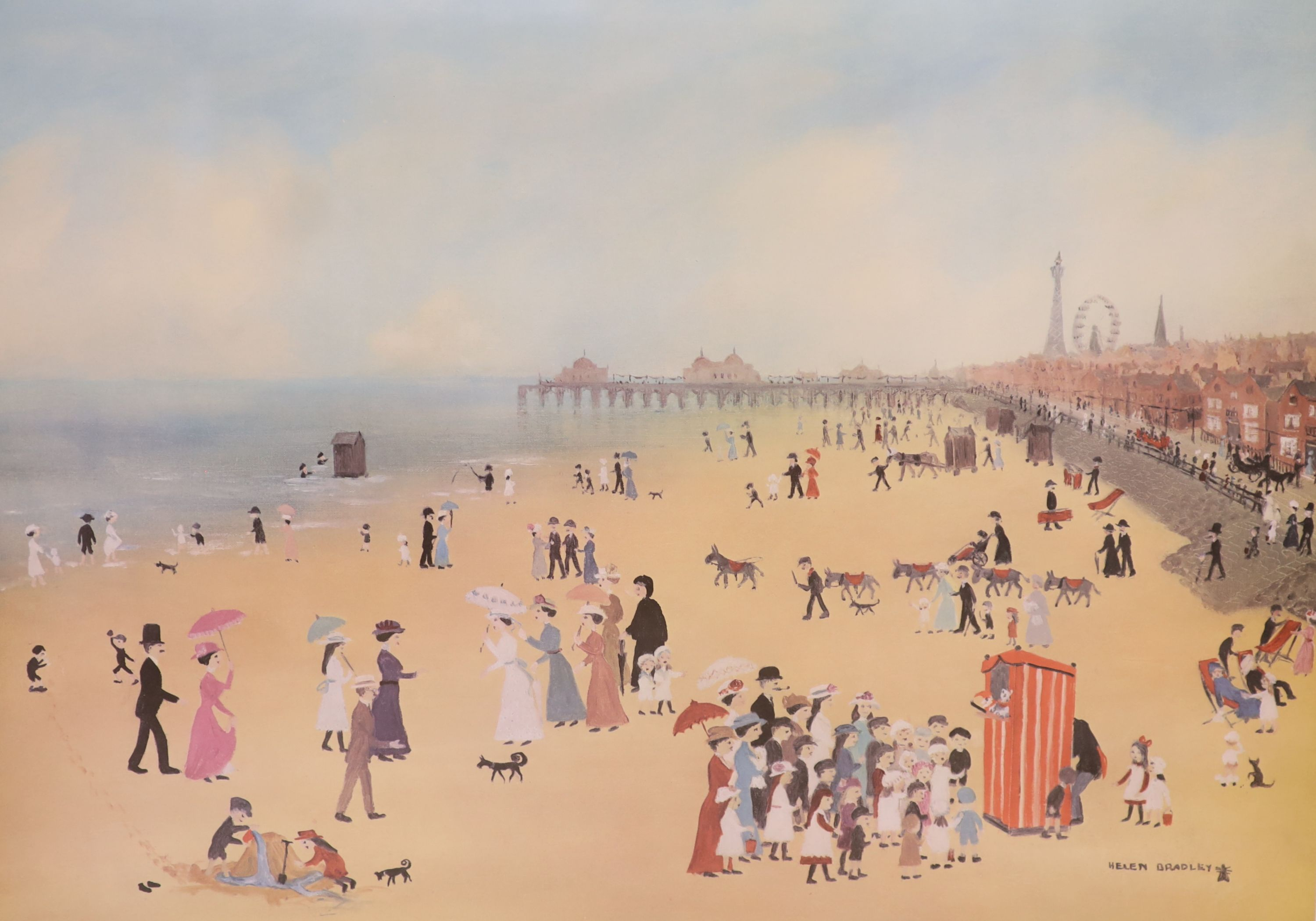Helen Bradley, two signed prints, Blackpool Station and Blackpool Sands, both signed in pencil, - Image 3 of 3