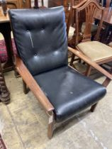 A mid century design teak armchair, width 70cm, depth 80cm, height 86cm