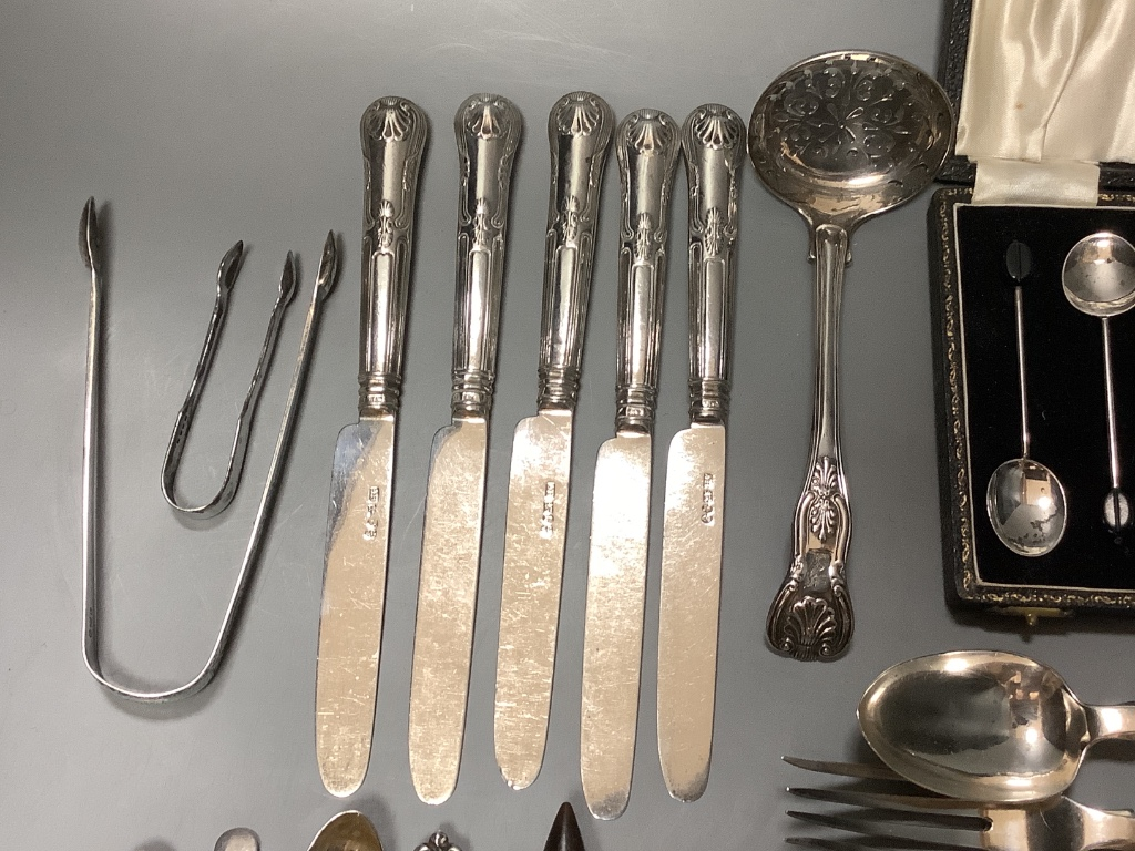 Five pairs of Georgian silver fruit eaters and a quantity of miscellaneous silver flatware,including - Image 5 of 5