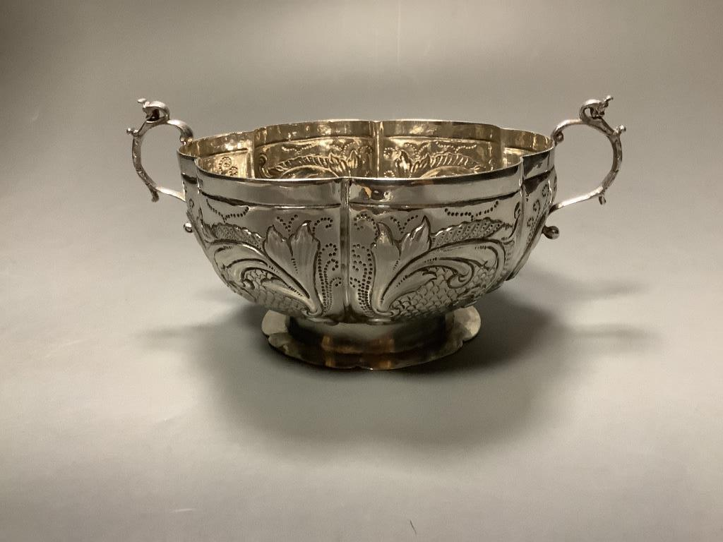 A late 19th century Hanau lobed silver two handled bowl, import marks for London, 1895, diameter