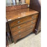 A small Regency banded mahogany chest, width 75cm, depth 42cm, height 79cm