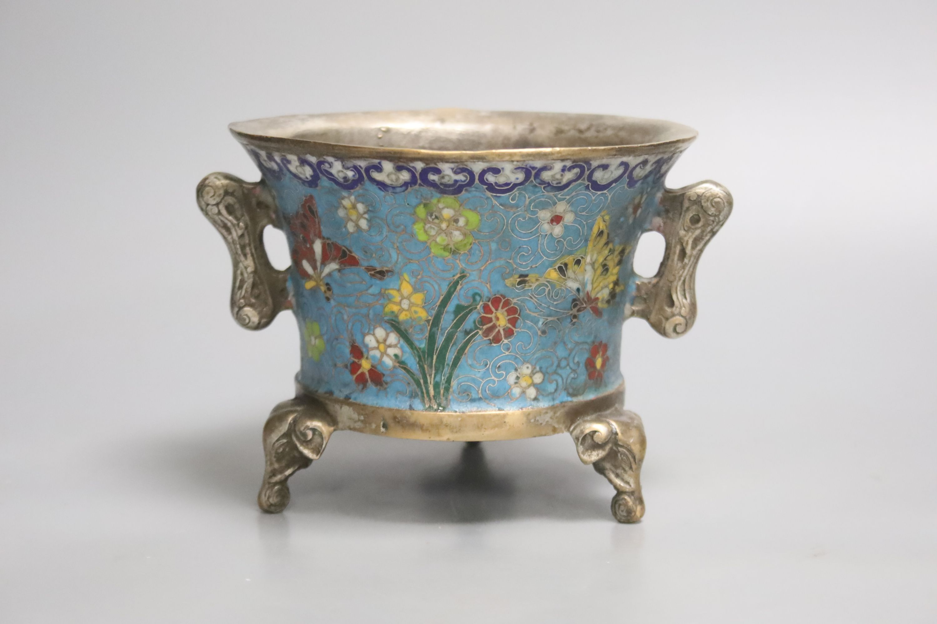 A heavy Chinese silvered bronze twin handled censer with floral decoration, a four character - Image 2 of 4