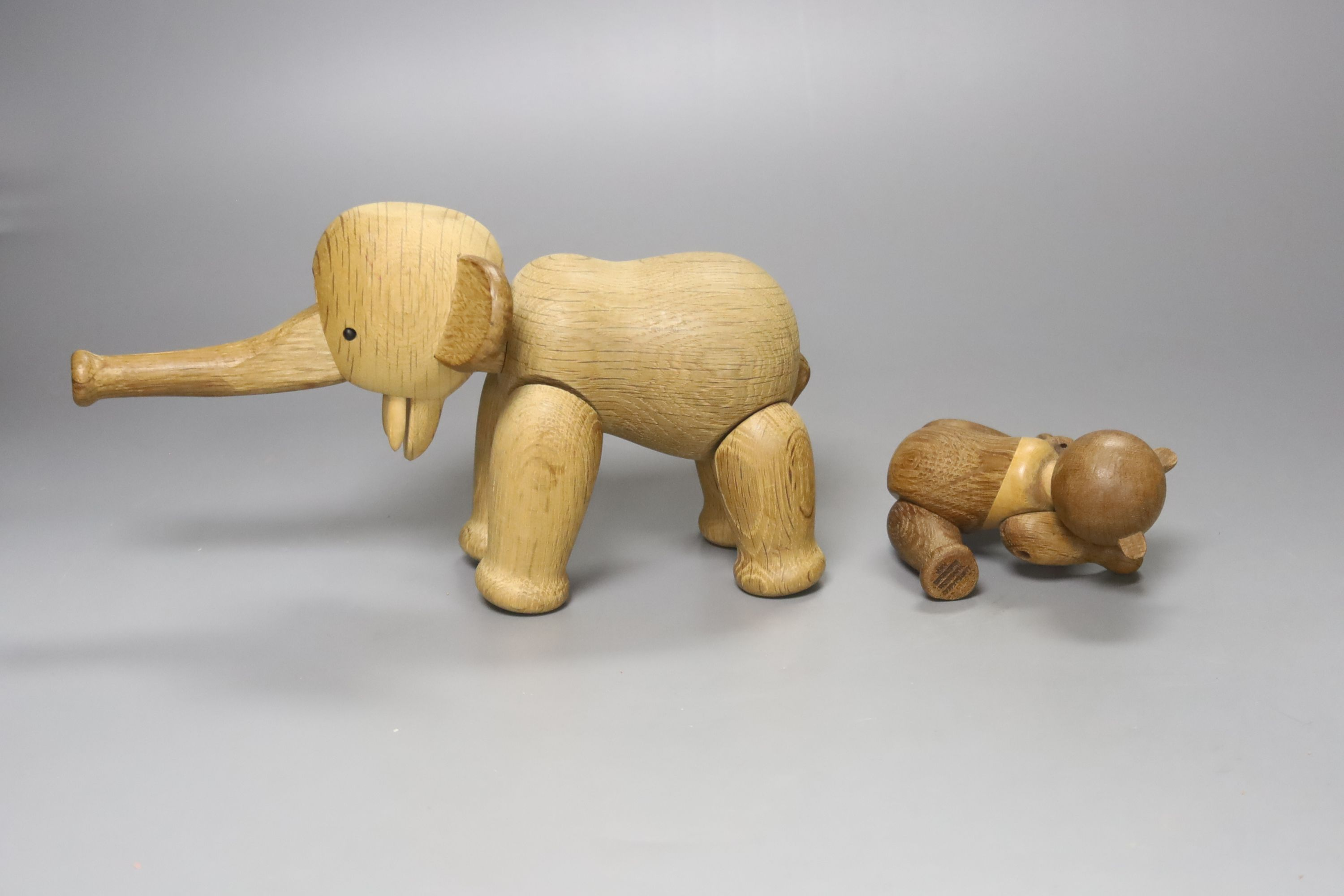 Two Danish carved wooden toys by Kay Bogesen, a standing elephant, 22cm length 14cm high and a - Image 2 of 4
