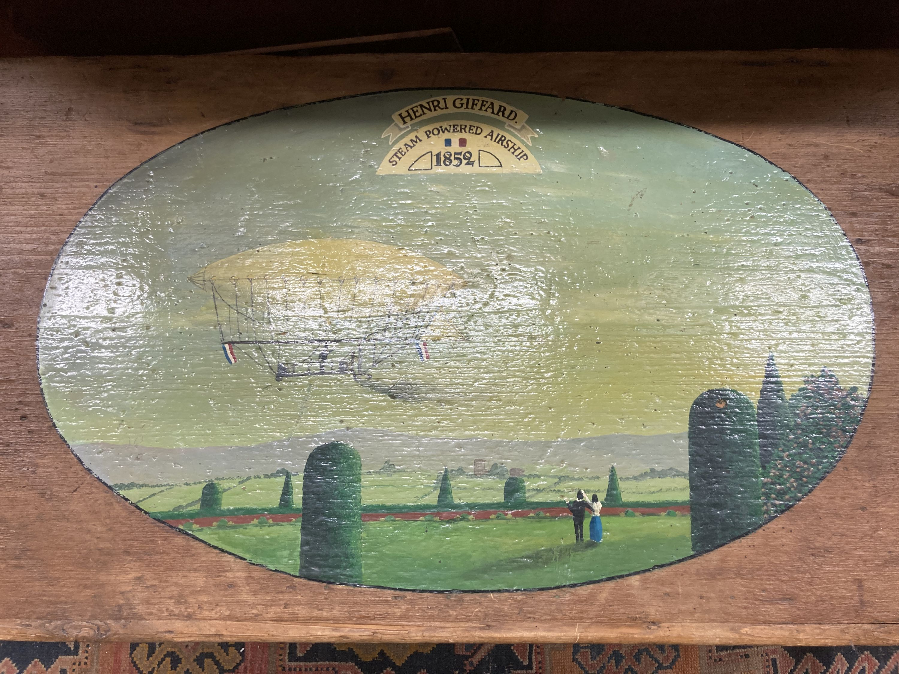 A Victorian stripped pine trunk, the top later painted with an airship scene, length 89cm, depth - Image 2 of 4