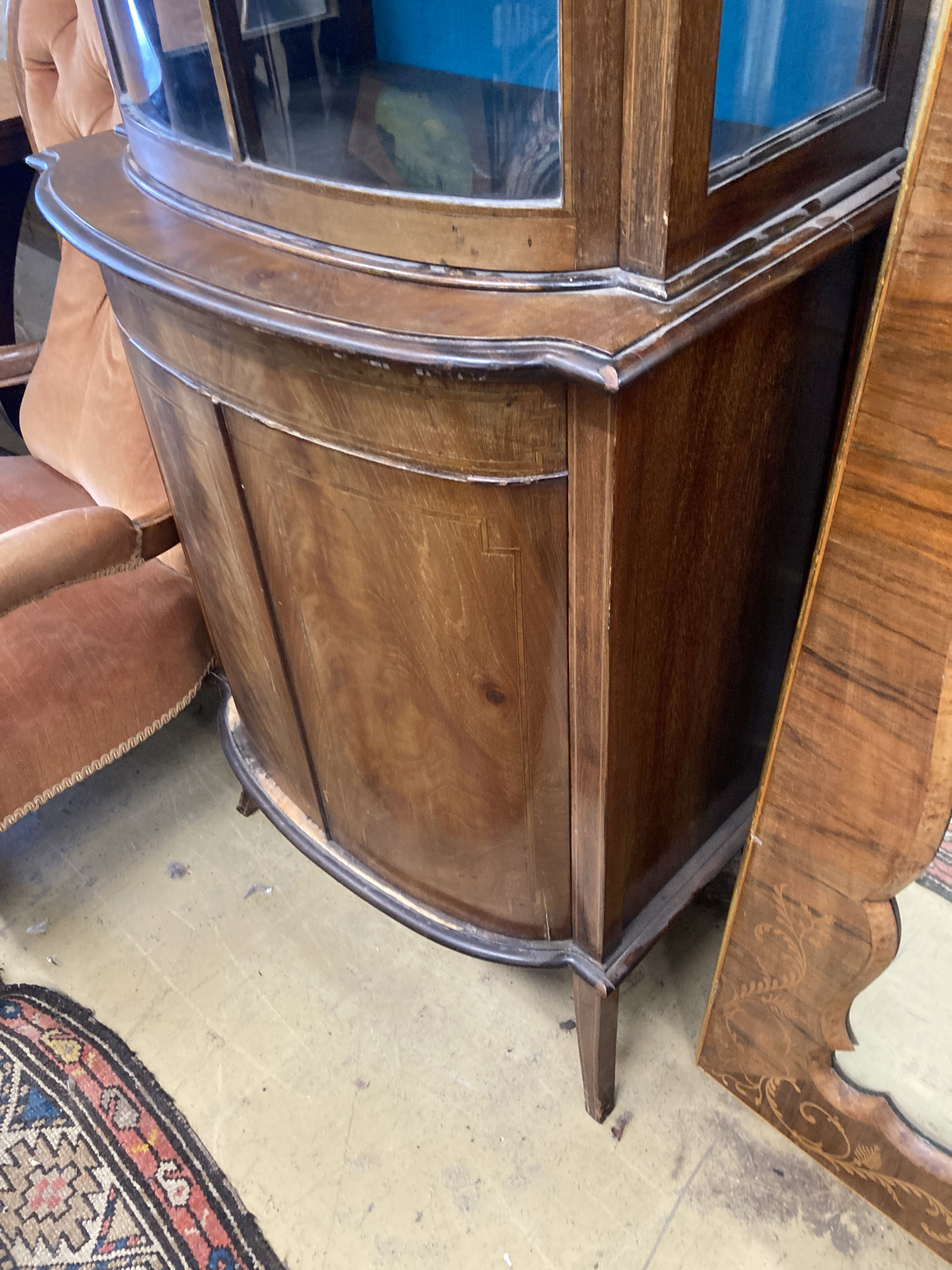 An Edwardian mahogany bowfront narrow display cabinet, width 60cm, depth 36cm, height 164cm - Image 3 of 4