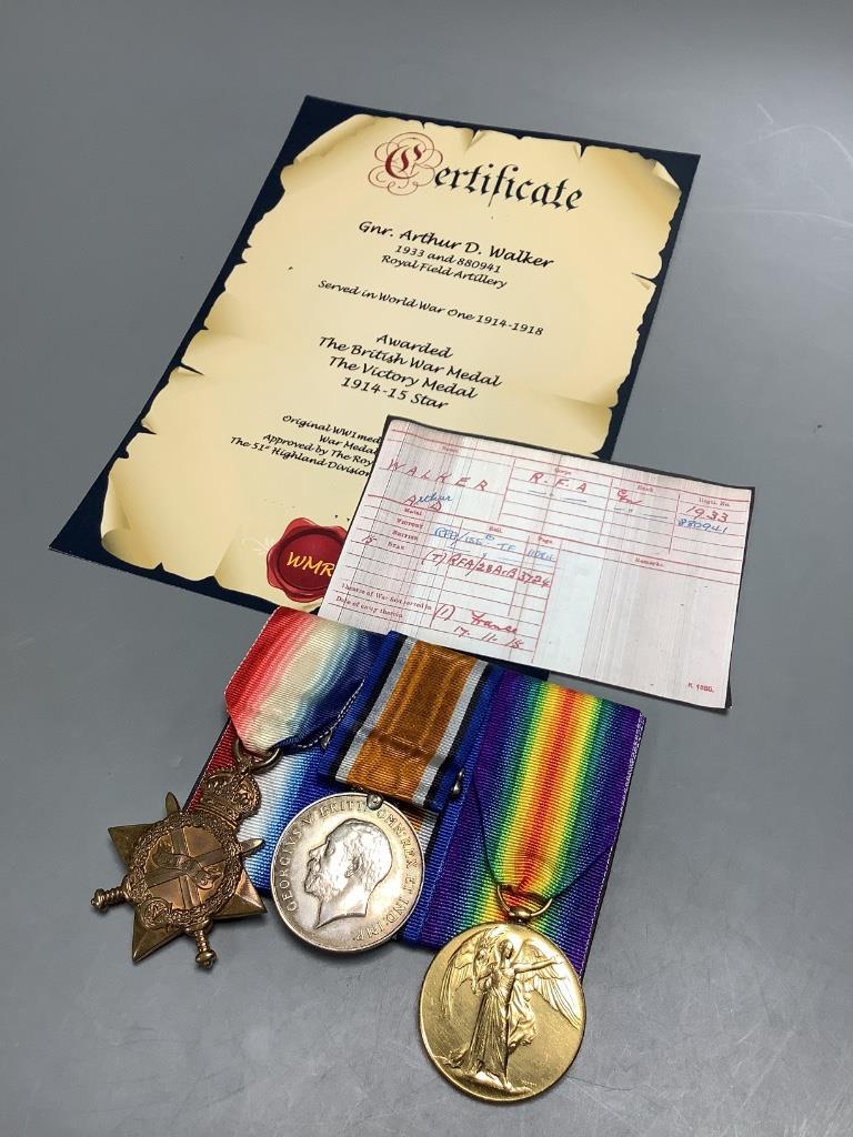 A WW1 trio to 1933/880941 Gunner Arthur D Walker, Royal Field Artillery