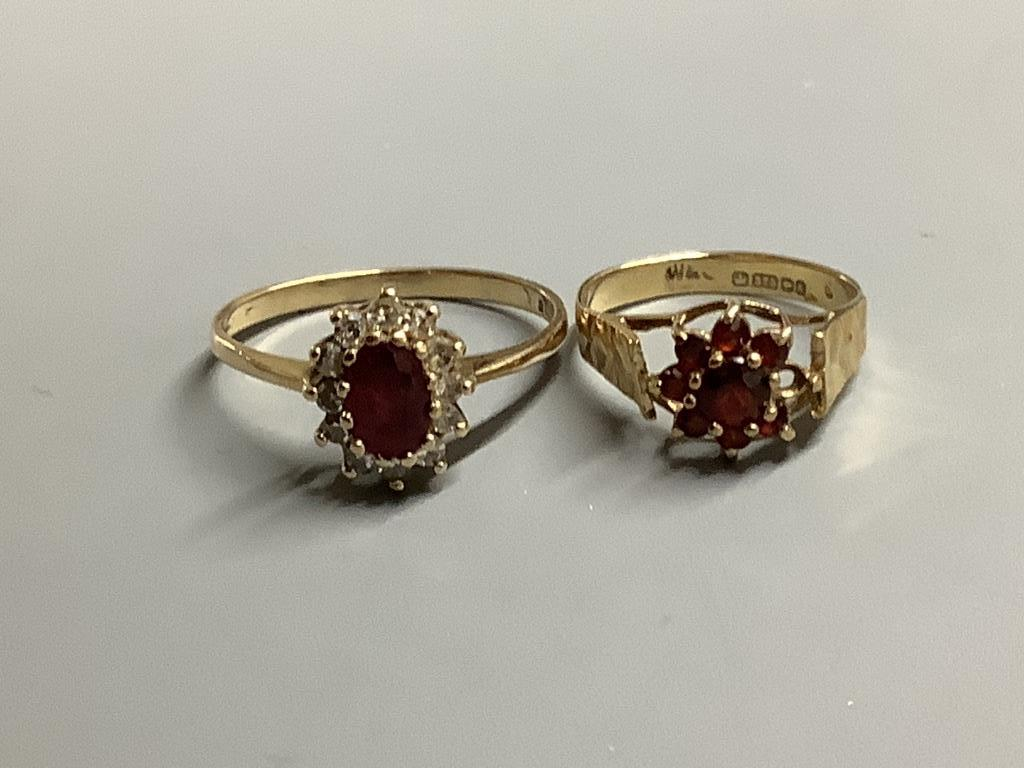 An 18ct gold, sapphire and diamond ring, gross 3.2 grams and four 9ct gold rings, two gem-set, gross - Image 2 of 3