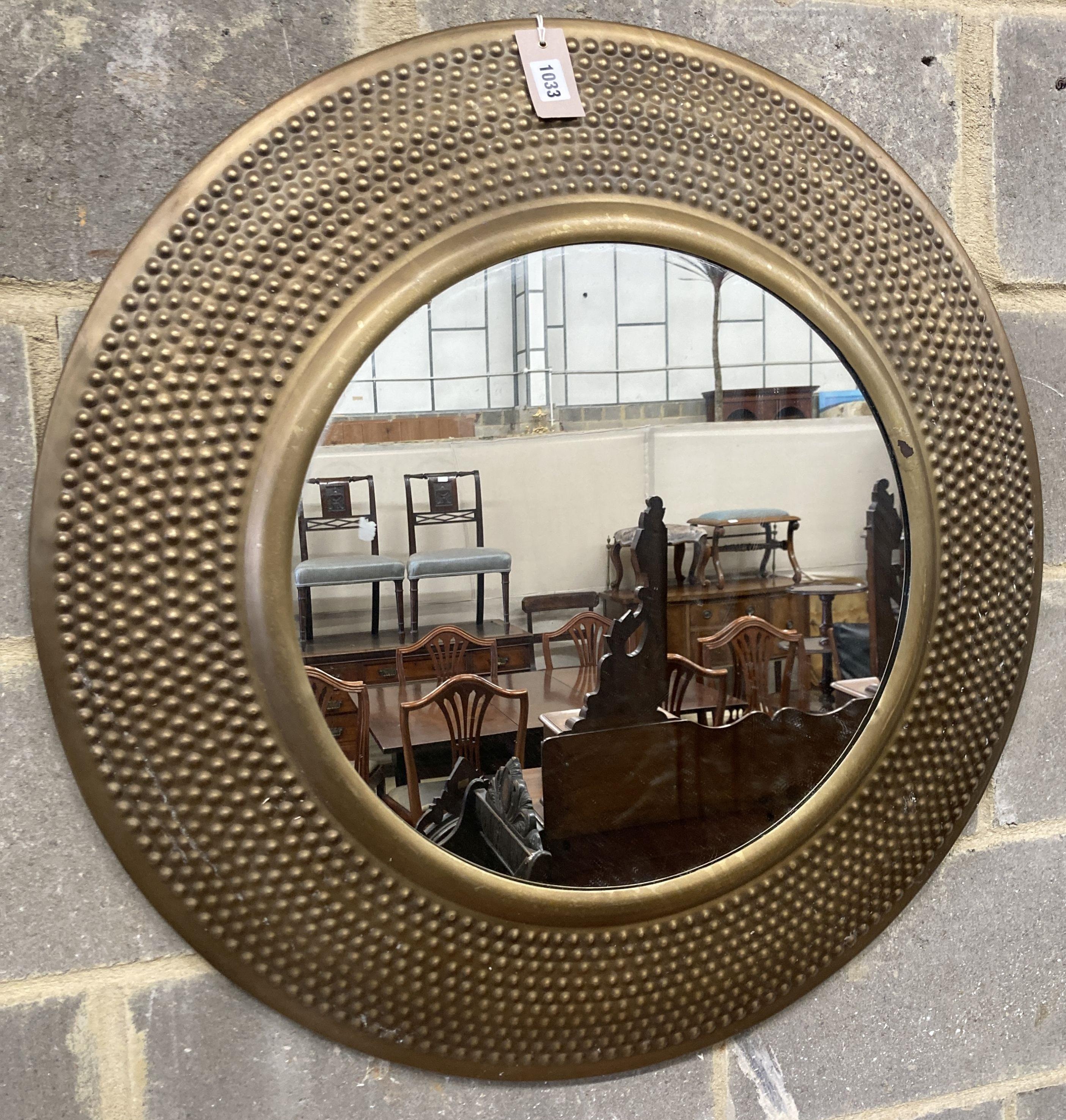 A modern contemporary circular wall mirror, diameter 80cm