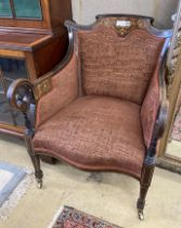 A late Victorian marquetry inlaid rosewood armchair, width 62cm, depth 70cm, height 78cm