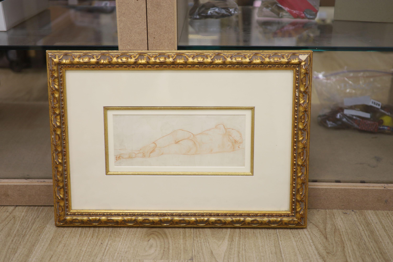Trevor James, red chalk, Reclining nude, ESK stamp, 11 x 28cm - Image 2 of 2