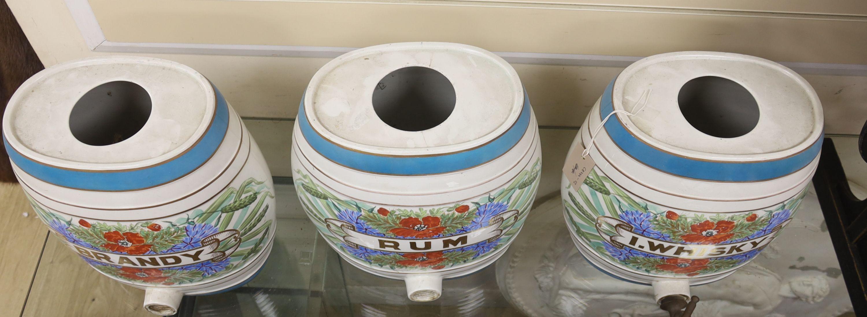 Three ceramic spirits barrels: Brandy, Rum and Whisky, 34cm high - Image 2 of 3