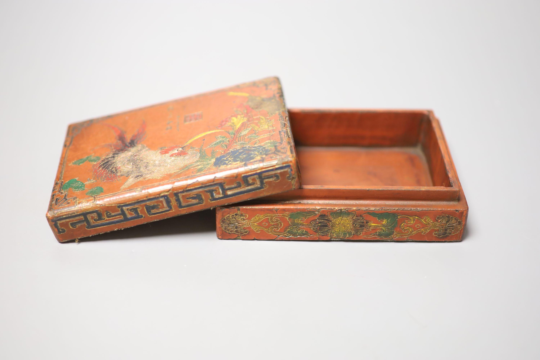 Three circular gilded lacquer boxes and a similar rectangular box - Image 4 of 4