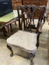 A set of six George III style mahogany dining chairs (two with arms)