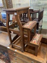 A mahogany metamorphic step/stool, width 42cm, depth 28cm, height 72cm