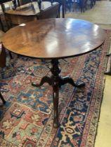 A George III and later circular tilt top tea table, diameter 70cm, height 68cm