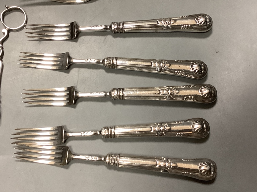 Five pairs of Georgian silver fruit eaters and a quantity of miscellaneous silver flatware,including - Image 2 of 5
