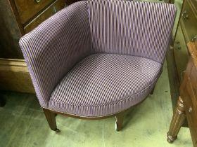 A 19th century mahogany upholstered corner chair, width 86cm, depth 50cm, height 78cm