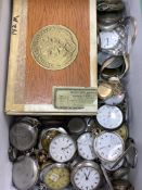 A group of assorted base metal pocket and fob watches including Longines and a quantity of