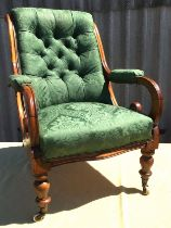 A mid Victorian upholstered mahogany armchair, width 66cm, depth 70cm, height 94cm
