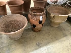 Two terracotta planters and a terracotta strawberry planter, largest 52cm diameter