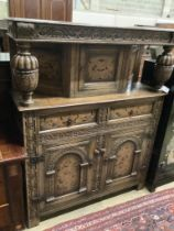 A reproduction 17th century style marquetry inlaid oak court cupboard, length 122cm, depth 43cm,