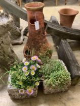 A terracotta strawberry pot, height 56cm together with a pair of stone square garden planters,,