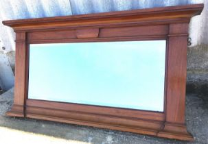 An early 20th century mahogany overmantel mirror, width 144cm, height 77cm