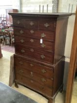 A George III mahogany chest on chest, width 103cm, depth 55cm, height 179cm